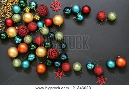 Christmas Tree Toys Balls Copy Space On Dark Background.