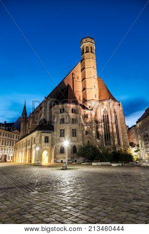 Minoritenkirche Church In Vienna, Austria At Night