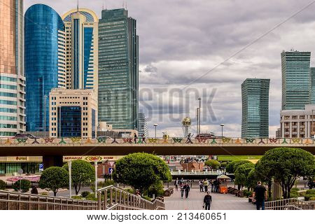 Astana, Kazakhstan - August 10, 2017: Art installation of different countries of the world on EXPO in Astana.