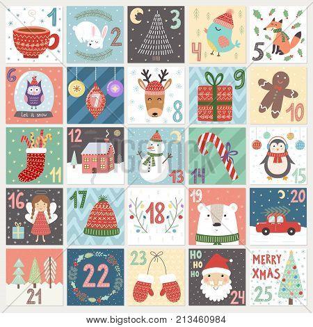Christmas advent calendar. Winter holidays poster with cute rabbit, fox, owl, bear, deer and Santa. Vector illustration