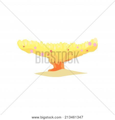 Yellow coral in plate shape from tropical reefs. Underwater invertebrate organism. Sea and ocean wildlife concept. Aquarium design element. Isolated cartoon vector illustration in flat style.