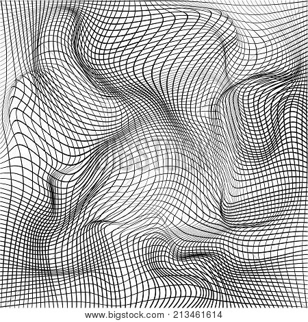 Distorted wave monochrome texture. Abstract dynamical rippled surface. Vector stripe  deformation background. Mesh, grid pattern of lines