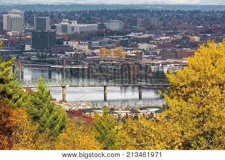 Hawthorne Bridge over Willamette River in downtown Portland Oregon in Fall Season USA America