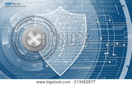 Data security abstract background with lock, numbers, abstract circles, shield. Used clipping and opacity masks.