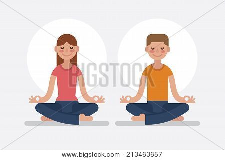 Young man and woman couple meditating in lotus pose. Cute yoga and meditation illustration in flat style.