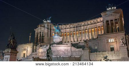 Night View Of Vittoriano In Rome