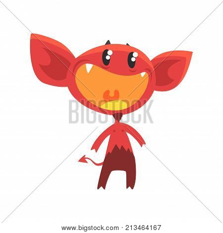 Cartoon vector illustration of devil with little horns, big ears, tail and shiny eyes. Red demon with pleasantly surprised face expression. Flat design for kids t-shirt print, sticker, card or poster.