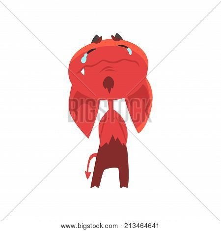 Crying cartoon devil with big drooping ears, horns and tail isolated on white. Sad red demon with tears on face. Evil character from hell. Flat vector design for kids print, sticker, card or poster