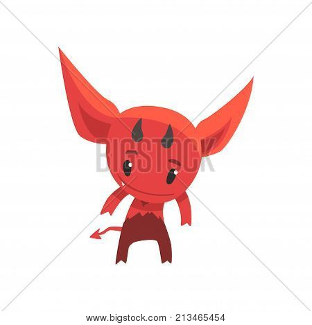 Funny little devil showing his horns. Cartoon fictional monster character from hell. Flat vector design for network sticker, card, kid t-shirt print. Vector illustration isolated on white background.