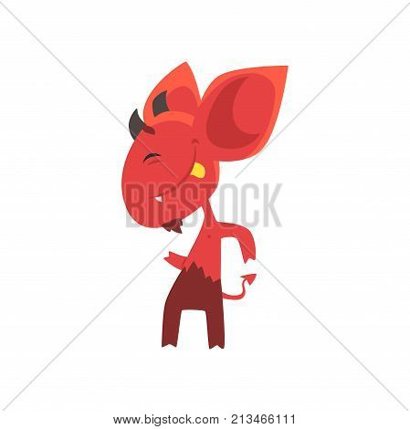 Cheerful little devil dancing and showing his tongue isolated on white background. Red demon character with horns, big ears and tail. Flat vector design for network sticker, card or kid t-shirt print.