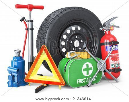 A set of automotive accessories. Spare wheel fire extinguisher first aid kit emergency warning triangle jack tow rope wheel wrench pump. Objects isolated on white background