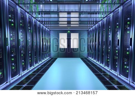 Server Racks In Data Center Hall. Communication Equipment