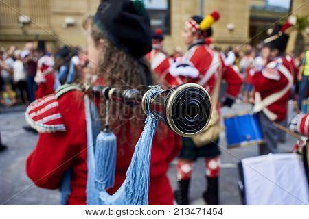 Soldiers Playing Bagpipe In Tamborrada Of San Sebastian. Basque Country, Spain.
