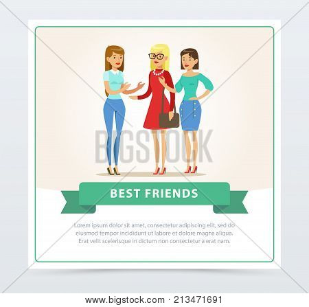 Three happy female friends talking, best friends banner flat vector element for website or mobile app with sample text