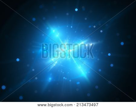 Blue glowing interstellar object in space extraterrestrial life form computer generated abstract background 3D rendering