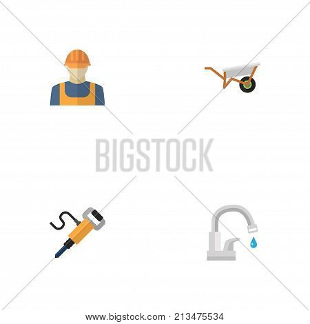 Set Of Construction Flat Icons Symbols Also Includes Pneumatic, Jackhammer, Faucet Objects.  Flat Icons Handcart, Worker, Faucet Vector Elements.