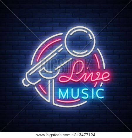 Live musical vector neon logo, sign, emblem, symbol poster with microphone. Bright banner poster, neon bright sign, nightlife club advertising, karaoke, bar and other institutions with music.