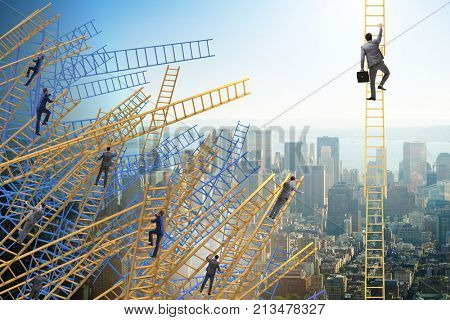 Businessman climbing career ladder in business concept