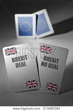 Playing cards marked with brexit deal and no deal