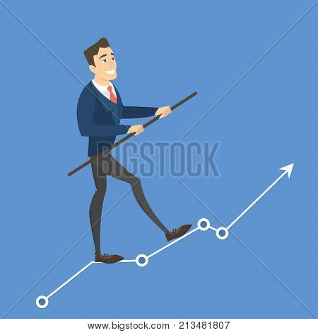 Businessman tightrope walker. Idea of risky and courage business. Arrow growth.