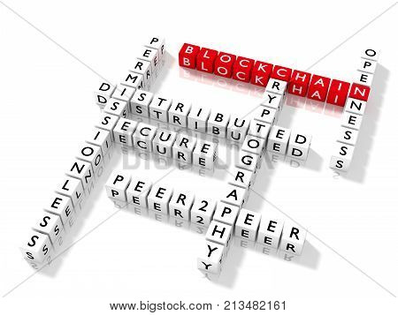 Blockchain keywords arranged in a crossword puzzle on white 3D illustration