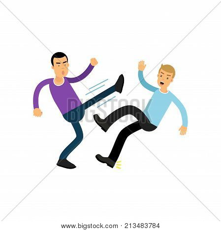 Irate man in high kick pose beats guy in blue sweater. People having fight. Violent behavior. Aggressive bully. Cartoon male characters in flat style. Vector illustration isolated on white background.