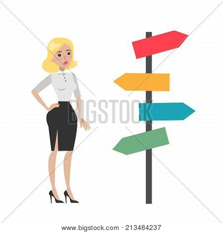 Isolated lost businesswoman standing confused near sign post.