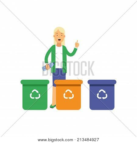 Happy woman standing near trash containers with hand up and sorting waste. Contributing into environment preservation. People who protect nature. Flat cartoon character vector isolated on white.