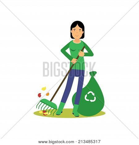 Happy woman cleaning and raking leaves. Contributing into environment preservation. People who protect nature. Volunteer male, ecology, ecological concept. Flat character vector isolated on white.
