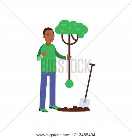 Man cartoon character planting a tree. Contributing into environment preservation. People who protect nature. Volunteering male, ecologically clean world. Flat vector illustration isolated on white.