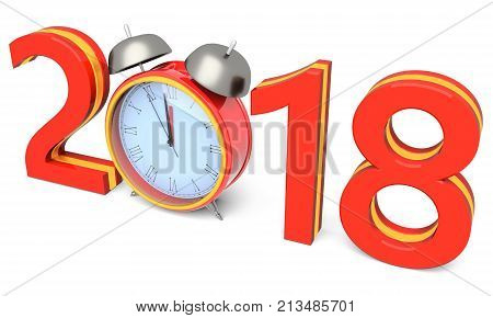 Happy new year 2018 with clock on a white background 3D illustration