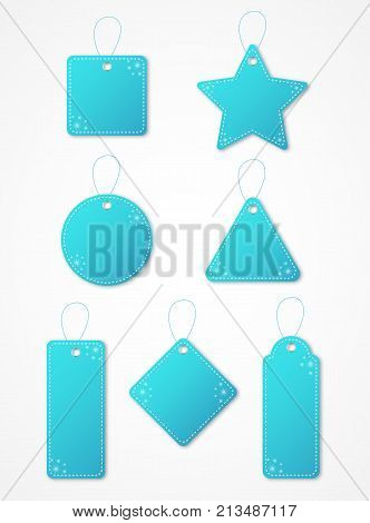 Blue Christmas gift tag set with hangers and snowflakes. Sale and promotion tags.