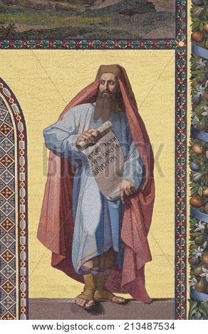 ROME, ITALY - SEPTEMBER 05: Mosaic of the Prophet Daniel in the facade of Basilica of Saint Paul outside the walls, Rome, Italy on September 05, 2016.