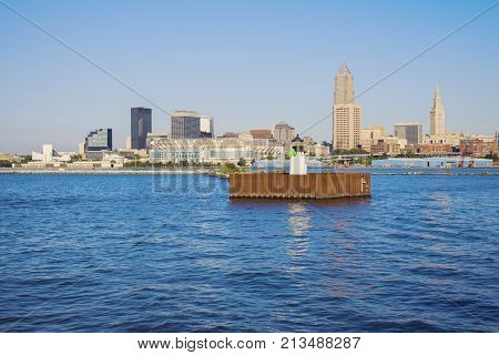 Cleveland - Skyline Seen From Lake Erie. Cleveland Ohio Usa.