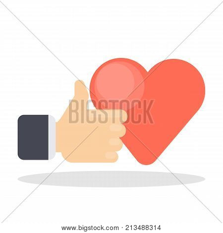 Like button concept. Thumb up and red heart.