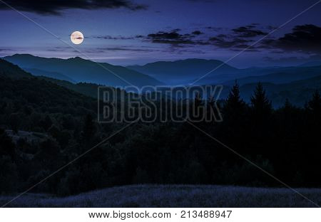 Full Moon Rise Above Forested Mountain At Night