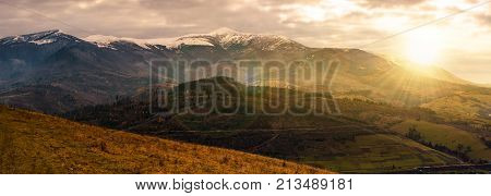 Great Mountain Ridge Borzhava At Sunset