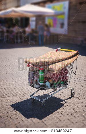 trolley stuffed with trash in Tel Aviv