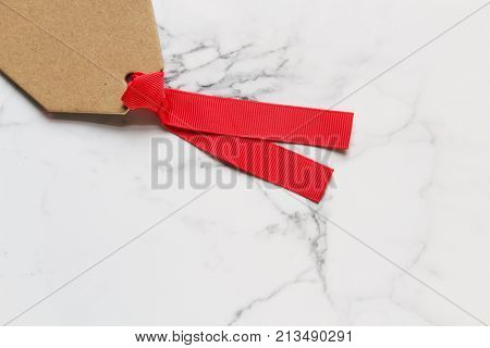 Blank gift tag frames white  marble copy space.