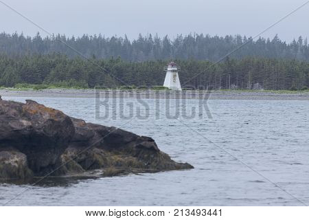 Jerseyman Island Lighthouse in Nova Scotia. Nova Scotia Canada.