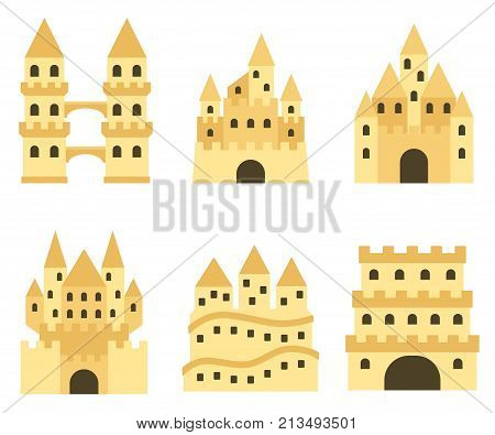 Sand castle isolated in flat style. Cartoon style sandcastle. Children summer activities. Vector illustration.