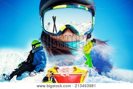 Portrait of woman in ski goggles. Collage image at winter leasure activity.