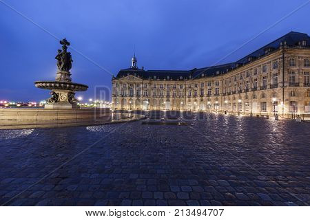 Fontaine des Trois Graces on Place de la Bourse in Bordeaux. Bordeaux Nouvelle-Aquitaine France.