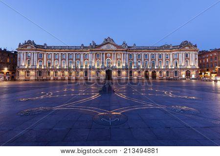 Capitole de Toulouse at evening. Toulouse Occitanie France.