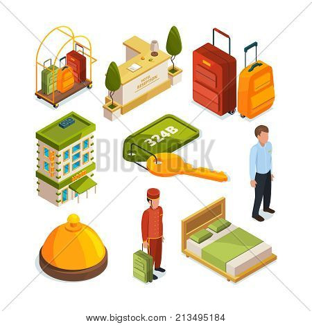 Icons set of hotel services. Isometric illustrations of reception tables. Lounge room. Vector hotel service reception