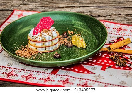 Homemade tasty christmas delicacy with apples and cinnamon. poster