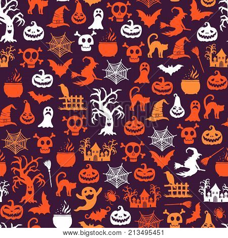 Vector halloween pattern background with witches, pumpkins, ghosts, spiders silhouettes. Halloween silhouette pumpkin spider and ghost illustration
