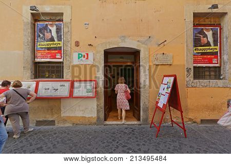 ROME ITALY - JUNE 30 2014: Democratic Party Old City Office at Giubbonari Street in Rome Italy.