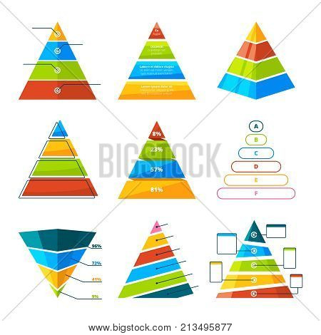 Set of different triangles and pyramids with levels. Vector symbols for infographic. Collection of pyramid diagram triangle, chart and graph template illustration