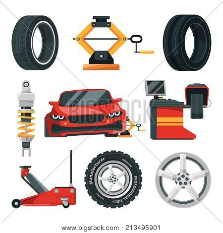 Illustrations of tires service. Car service tire and repair wheel, automotive maintenance garage vector